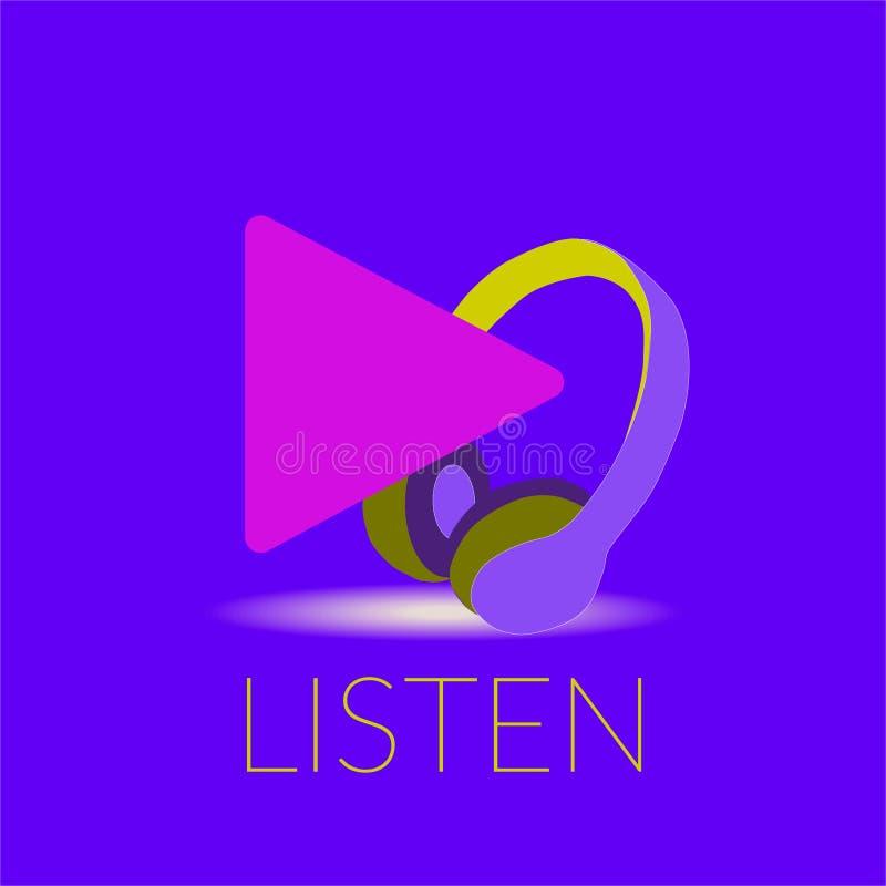 Ilustração do vetor do conceito dos ouvintes do Podcast ilustração royalty free