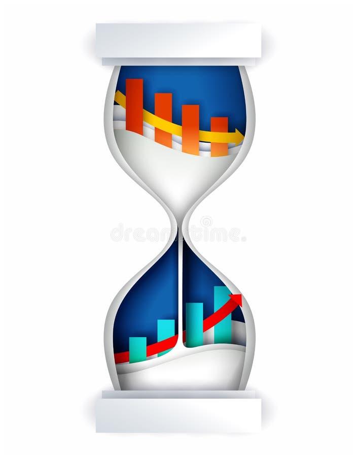Ilustração do vetor do conceito do investimento do tempo no estilo de papel da arte ilustração royalty free