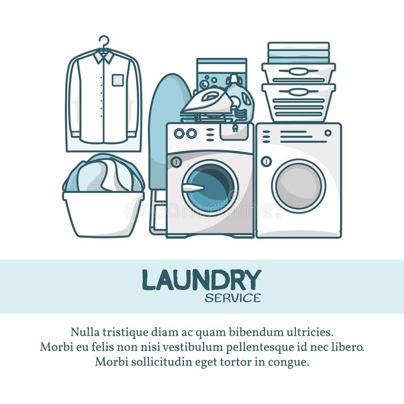 Ilustração do vetor do conceito do serviço de lavanderia no estilo linear liso moderno ilustração stock