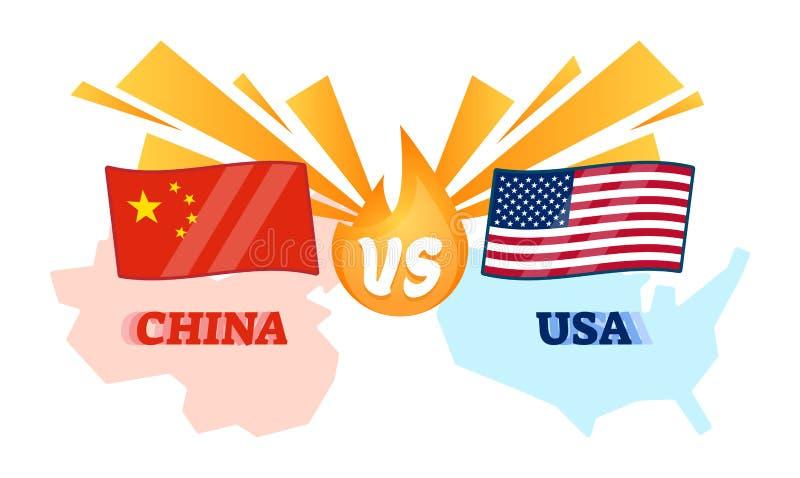 Ilustração do vetor - conflito de China e de EUA Chinês contra a bandeira americana sobre sanções econômicas do comércio de expor ilustração do vetor