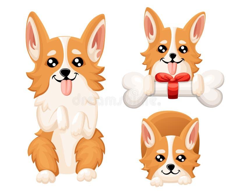 Ilustração do vetor do Corgi bonito de Galês do cão Cachorrinho agradável para o cartão, a loja de animais de estimação ou clínic ilustração stock