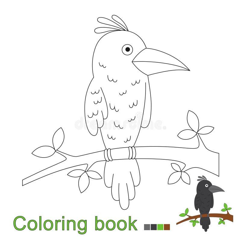 Ilustração do vetor do corvo que senta-se no ramo para o livro para colorir ilustração do vetor