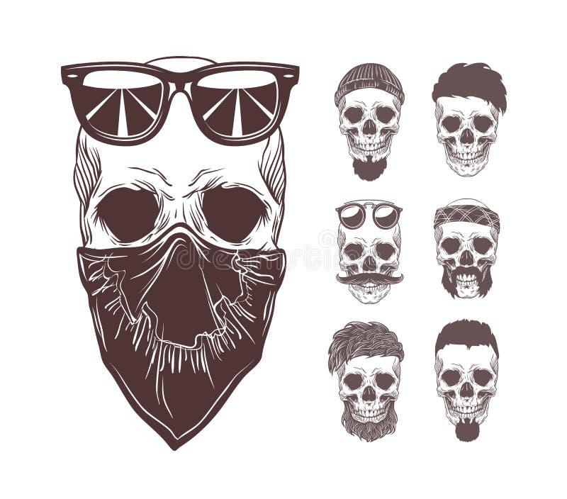 Ilustração do vetor do crânio no bandanna e nos óculos de sol na cara com os crânios monocromáticos ajustados isolados no fundo ilustração stock