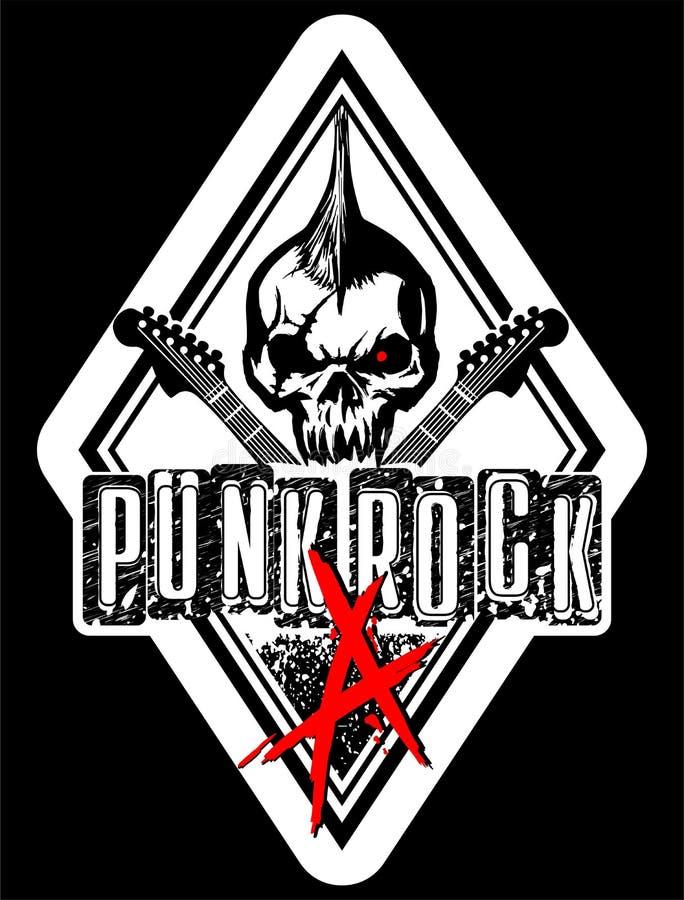 Ilustração do vetor do crânio do punk rock foto de stock