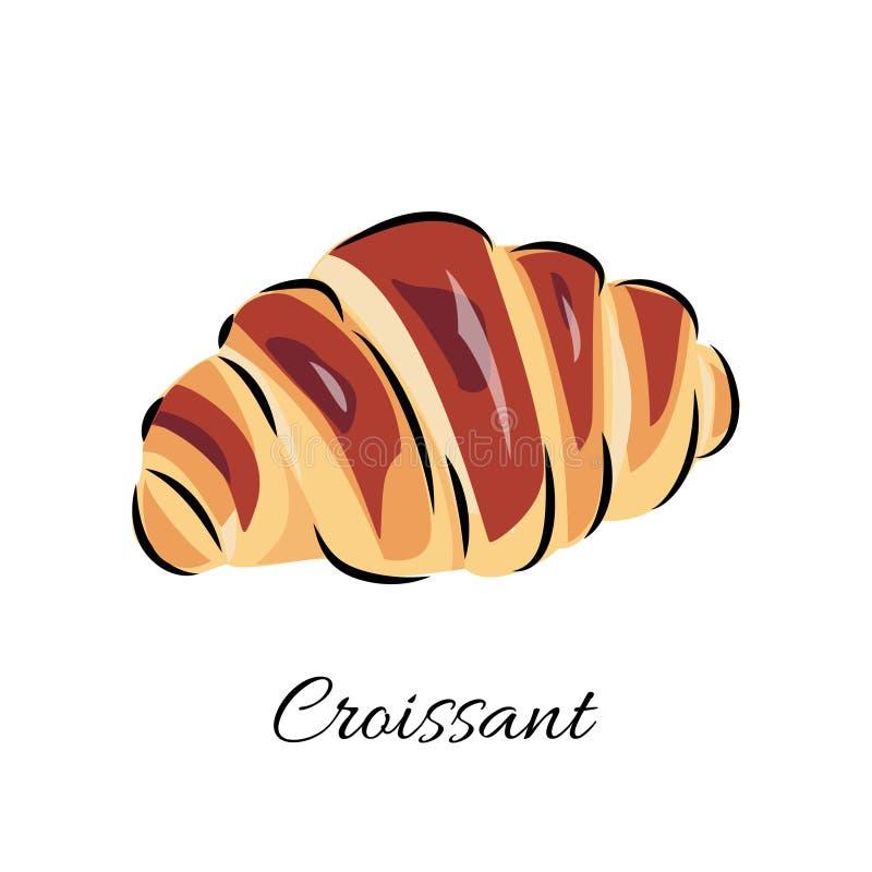 Ilustração do vetor do croissant para a loja da padaria, o café ou o projeto do alimento ilustração do vetor