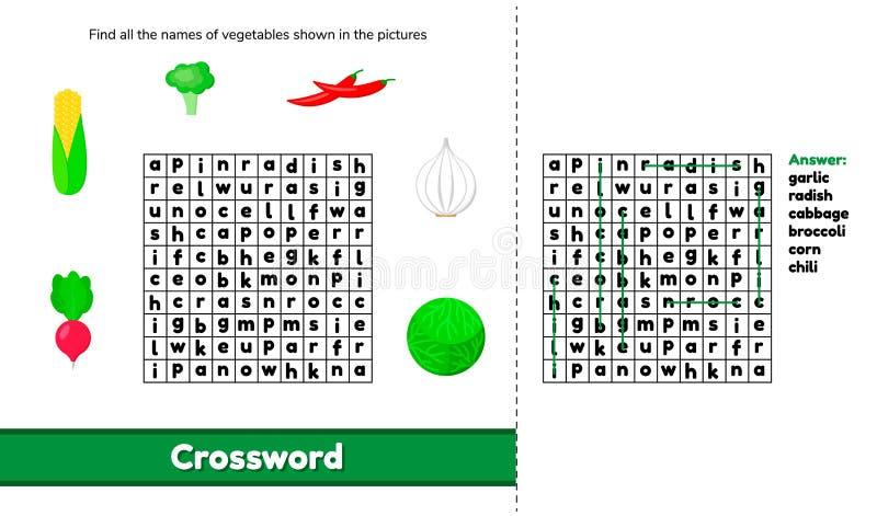 Ilustração do vetor crossword Jogo do enigma com palavras para o presc ilustração royalty free