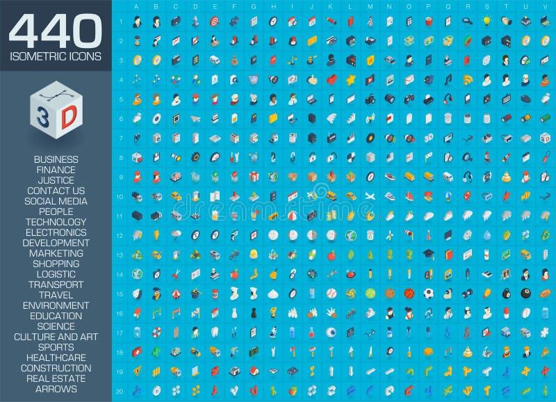 a ilustração do vetor 3d de ícones lisos isométricos para o negócio, contacta-nos, desenvolvimento, mercado social dos meios, seo ilustração royalty free