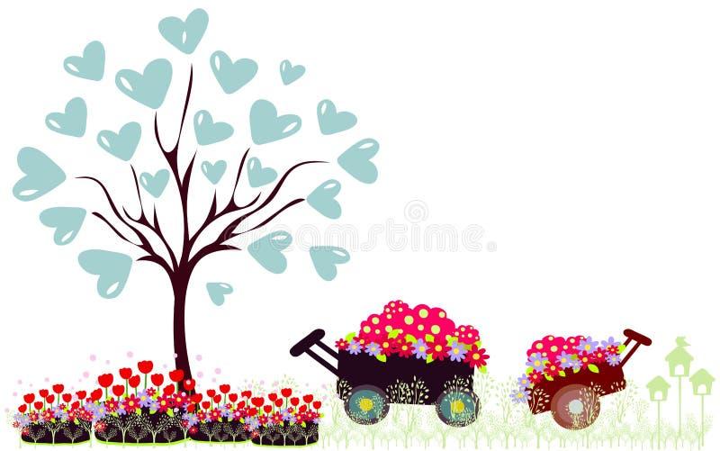 Ilustração do vetor da árvore com coração ilustração stock