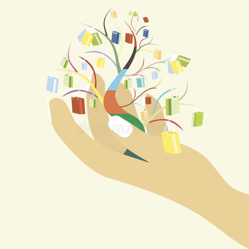 Ilustração do vetor da árvore da compra ilustração do vetor