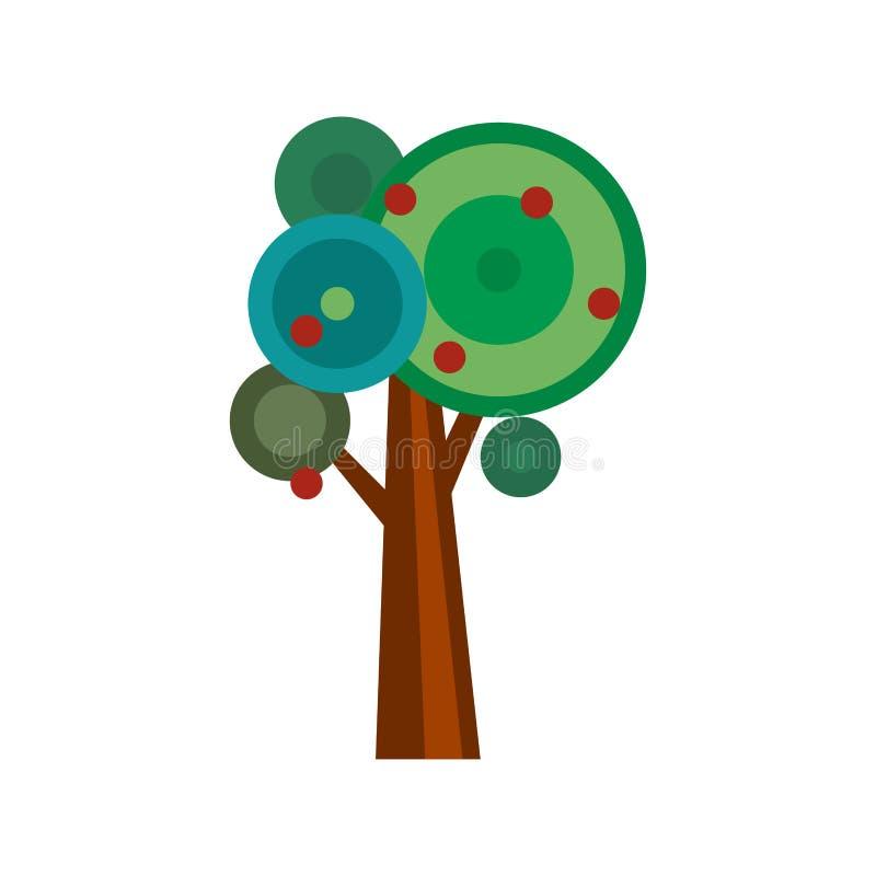 Ilustração do vetor da árvore de maçã dos desenhos animados ilustração stock