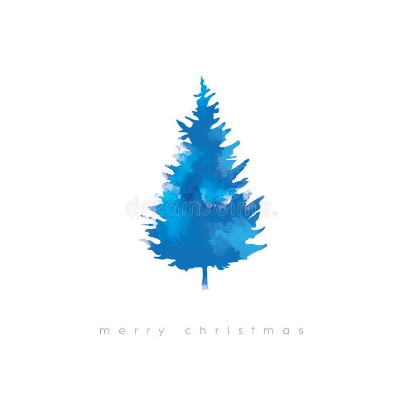 Ilustração do vetor da árvore de Natal com textura da aquarela Molde artístico do cartão do xmas do inverno frio ilustração royalty free