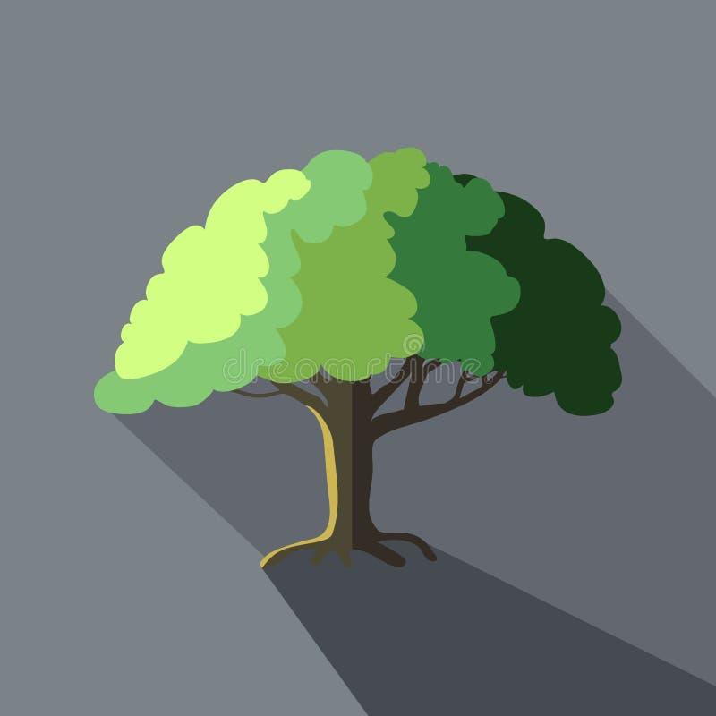 Ilustração do vetor da árvore no estilo liso do ícone do projeto com sombras longas ilustração royalty free