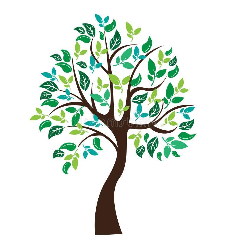 Ilustração do vetor da árvore no fundo branco - imagens de stock royalty free