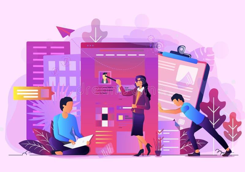 Ilustração do vetor da análise de dados do escritório para negócios ilustração royalty free