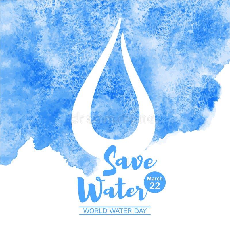 Ilustração do vetor da aquarela do dia da água do mundo ilustração royalty free
