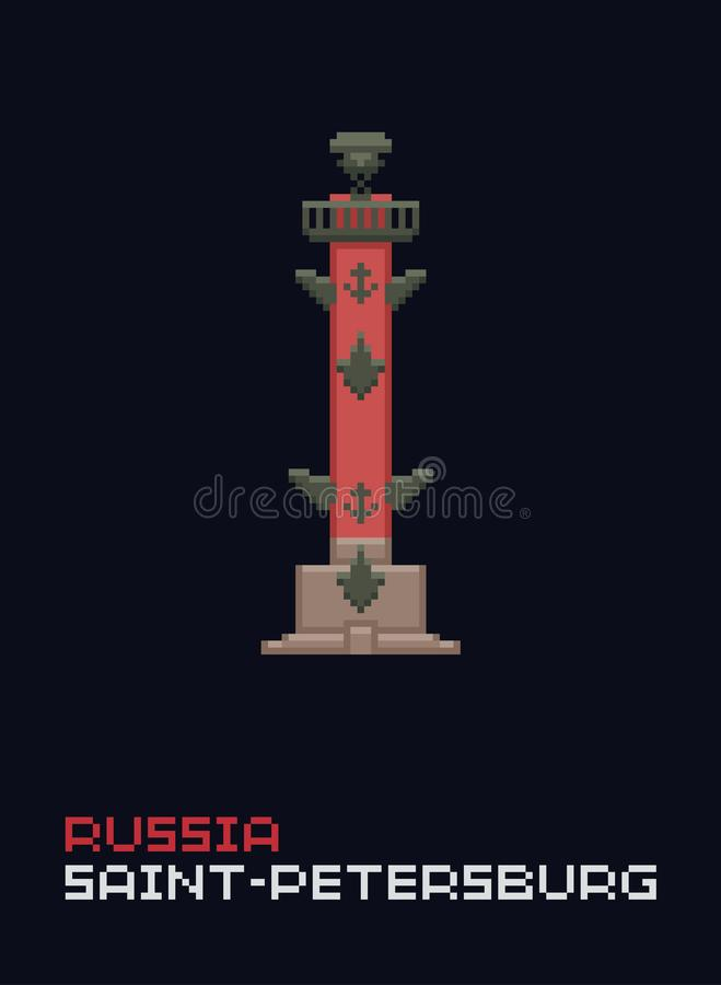 Ilustração do vetor da arte do pixel, estilo liso Marcos coloridos à moda Ícone de 8 bits simples da coluna Rostral, o símbolo de ilustração royalty free