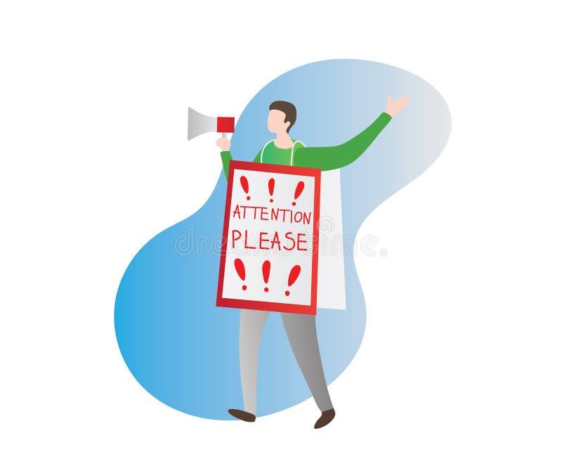 Ilustração do vetor da atenção Homem isolado na rua com rupor ou orador e cartaz grande, anúncio, observação ou etiqueta no corpo ilustração do vetor