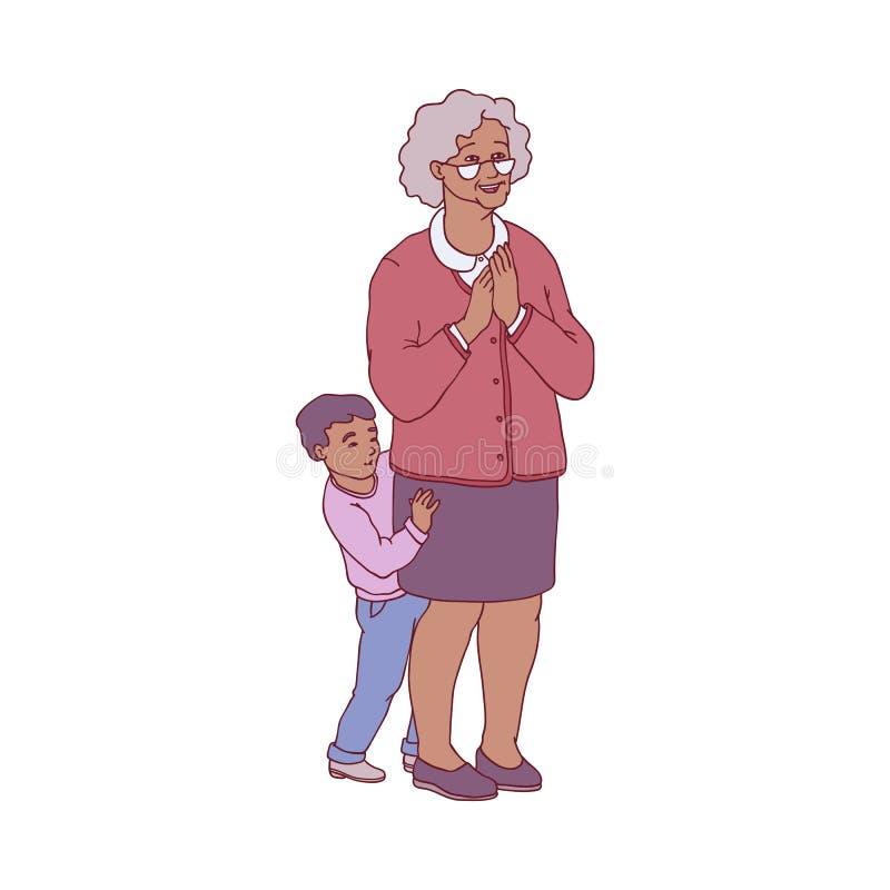 Ilustração do vetor da avó e da sua posição do neto na antecipação agradável ilustração do vetor