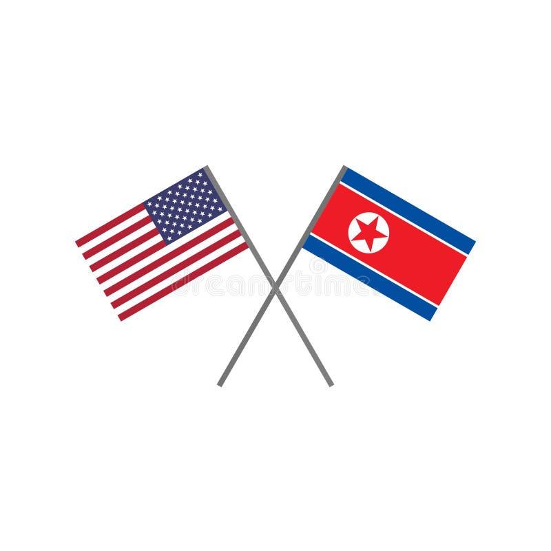 Ilustração do vetor da bandeira americana e da bandeira da Coreia do Norte que cruzam-se ilustração do vetor