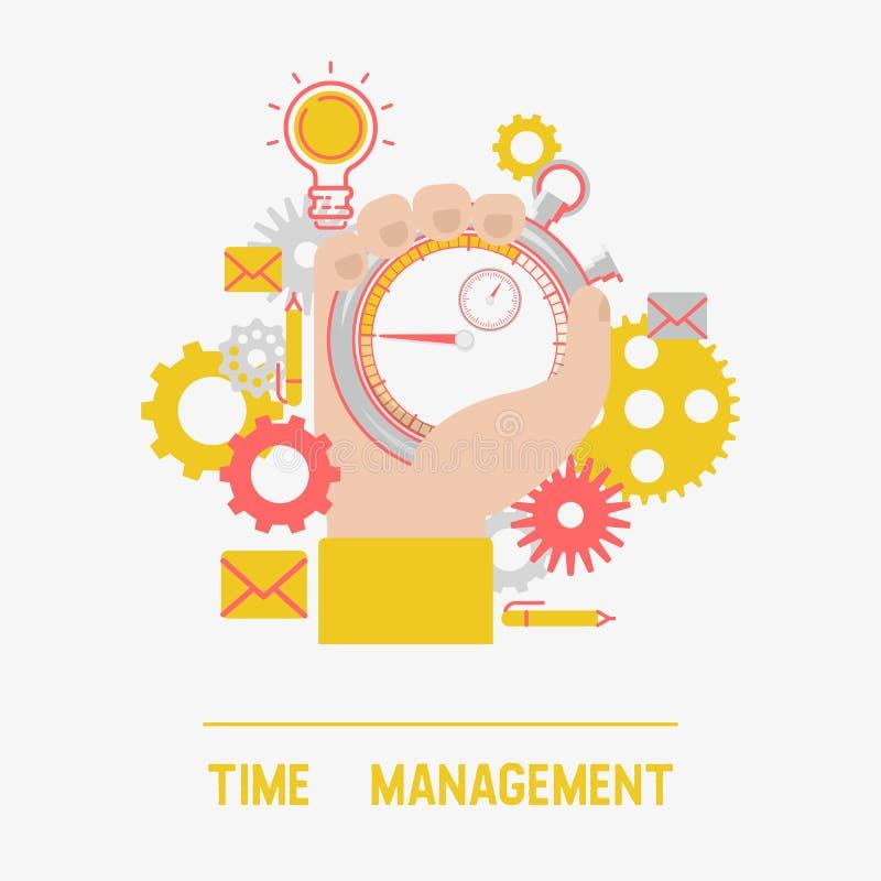 Ilustração do vetor da bandeira do conceito da gestão de tempo Temporizador ou cronômetro masculino da terra arrendada da mão Con ilustração stock