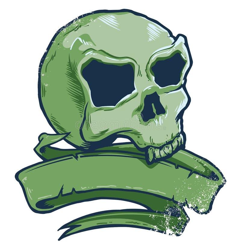 Ilustração do vetor da bandeira do crânio do estilo do tatuagem ilustração do vetor