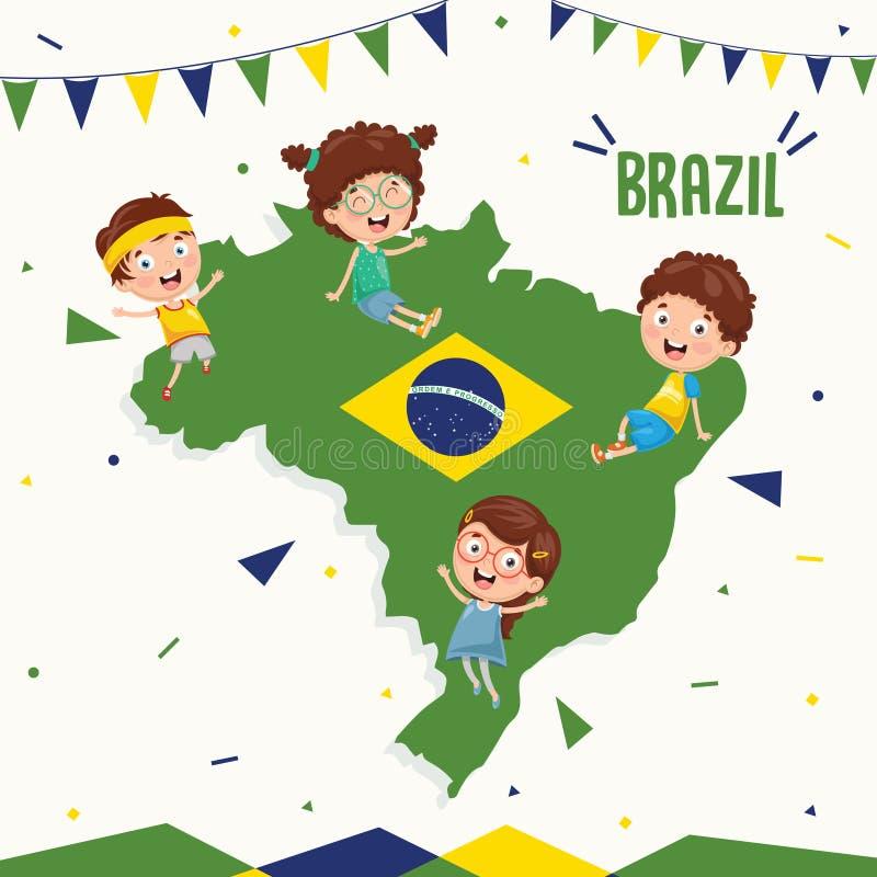 Ilustração do vetor da bandeira e das crianças de Brasil ilustração royalty free