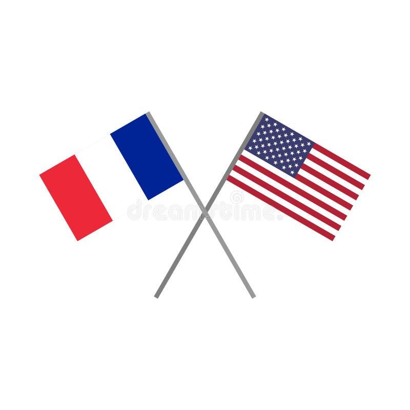 Ilustração do vetor da bandeira francesa e da bandeira americana que cruzam-se ilustração royalty free