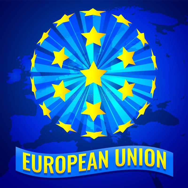 Ilustração do vetor da bandeira da União Europeia com mapa de Europa ilustração royalty free