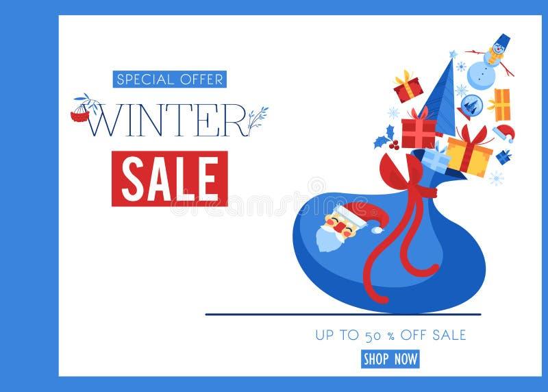 Ilustração do vetor da bandeira da venda do inverno com o saco de Santa Claus com presentes e símbolos do feriado ilustração stock