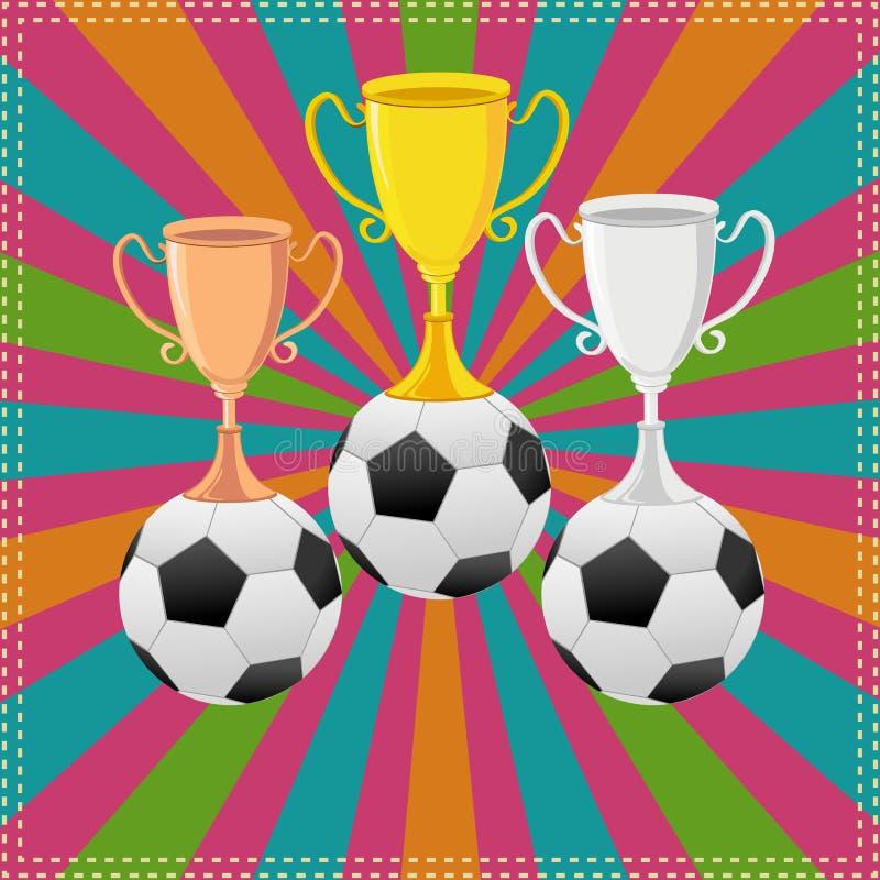Bola de futebol no troféu ilustração royalty free