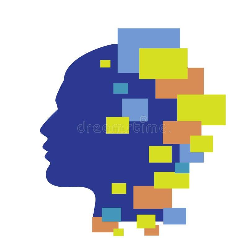 Ilustração do vetor da cabeça humana de Techno ilustração do vetor