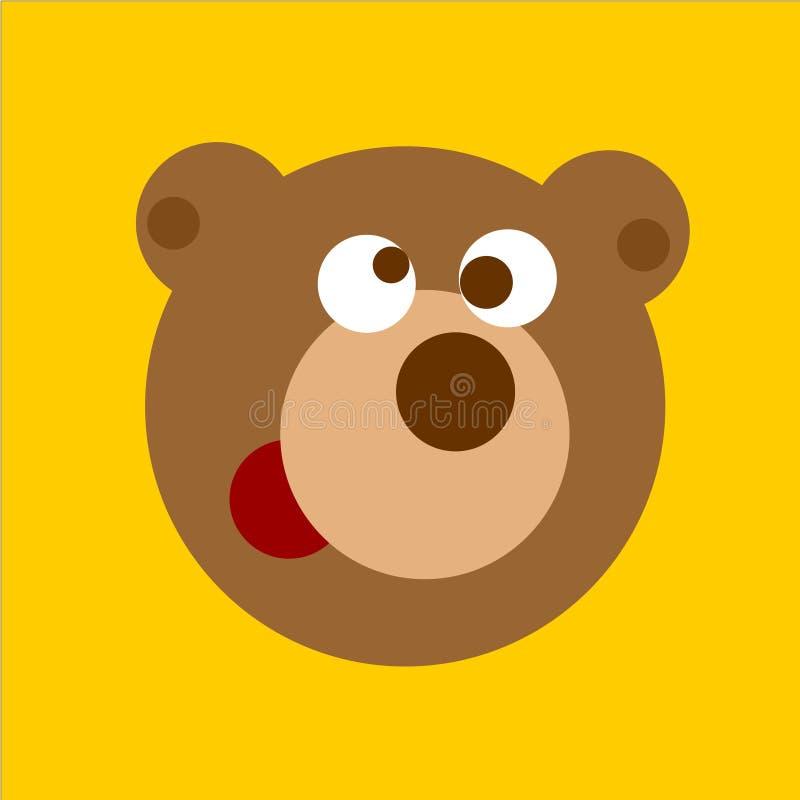 Ilustração do vetor da cabeça do urso dos desenhos animados do divertimento ilustração royalty free