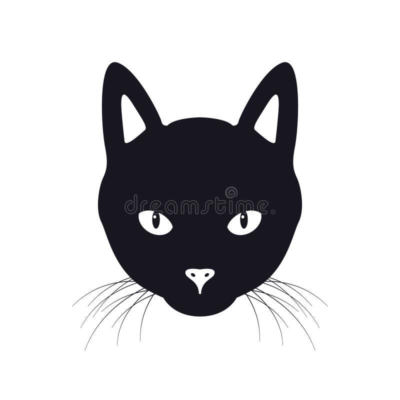 A ilustração do vetor da cara do gato preto ilustração stock