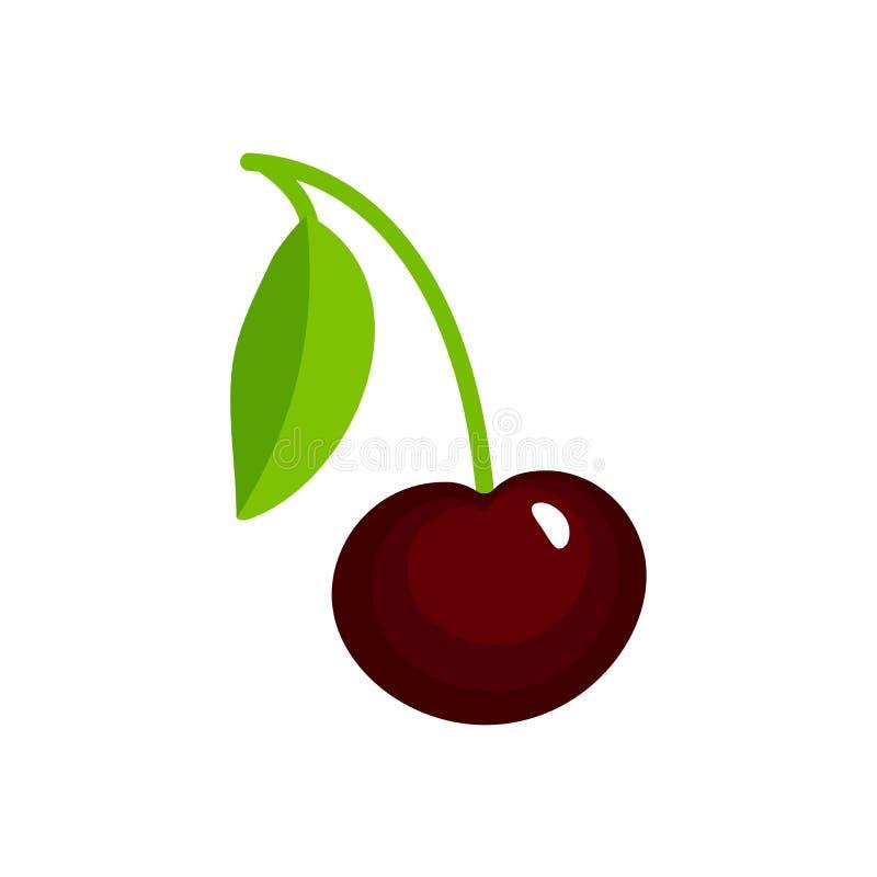 Ilustração do vetor da cereja madura preta com haste & folhas Ícone liso da baga fresca orgânica Objeto isolado ilustração stock