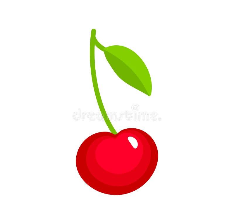 Ilustração do vetor da cereja madura vermelha com haste & folhas Grupo liso do ícone de baga fresca orgânica Alimento natural do  ilustração royalty free