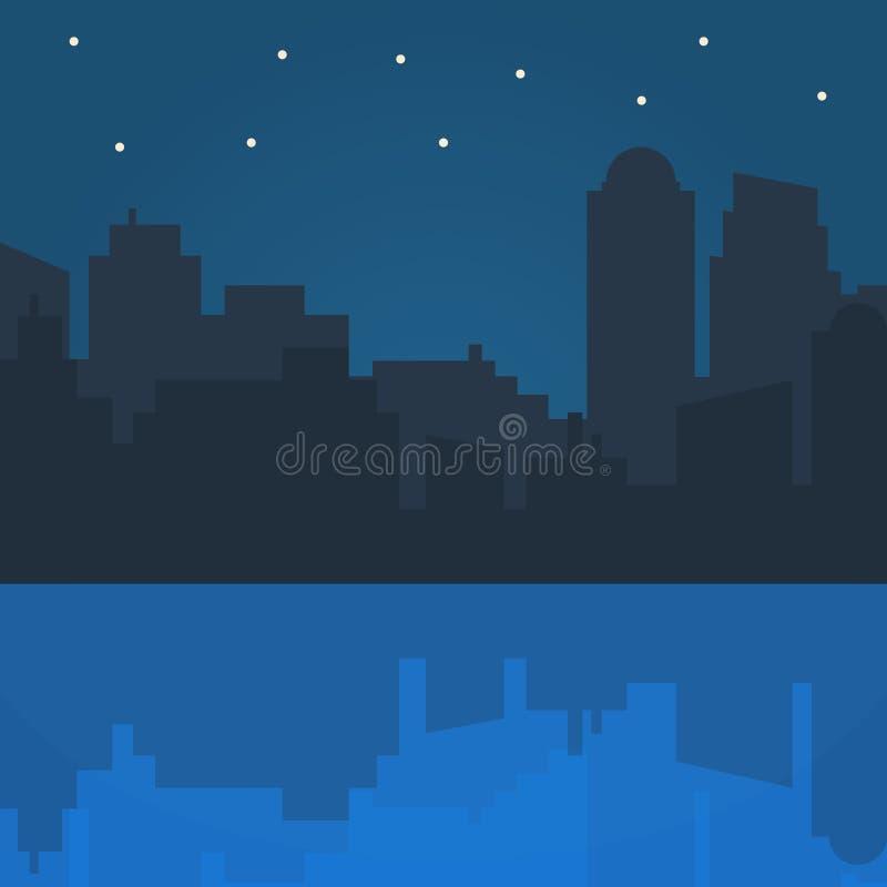 Ilustração do vetor da cidade da noite no projeto liso do estilo ilustração stock