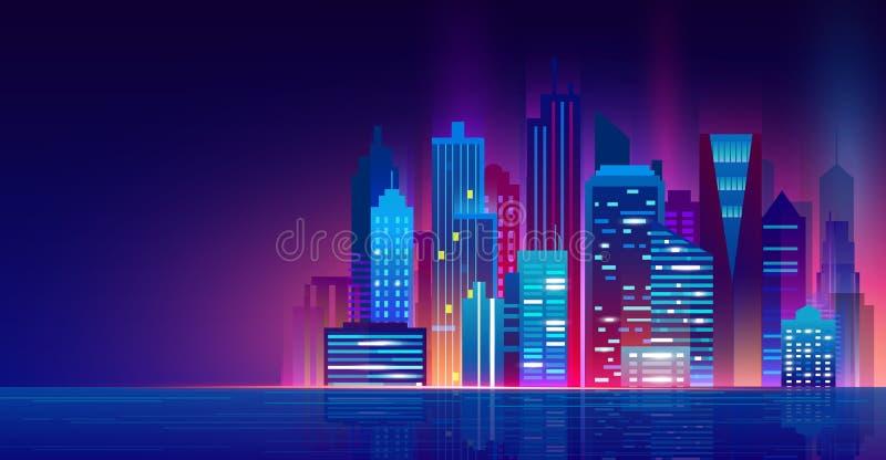 Ilustração do vetor da cidade futurista da noite com luzes de néon Arquitetura da cidade acima da água, cidade moderna da noite b ilustração royalty free