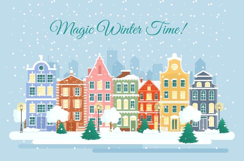 Ilustração do vetor da cidade no inverno, queda da neve casas coloridas na neve, conceito dos feriados de inverno nos desenhos an ilustração do vetor