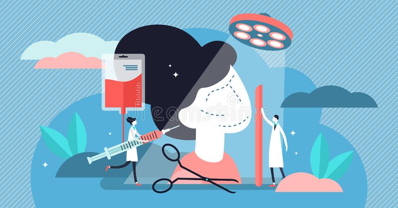 Ilustração do vetor da cirurgia Conceito minúsculo liso da pessoa do procedimento da ajuda médica ilustração do vetor