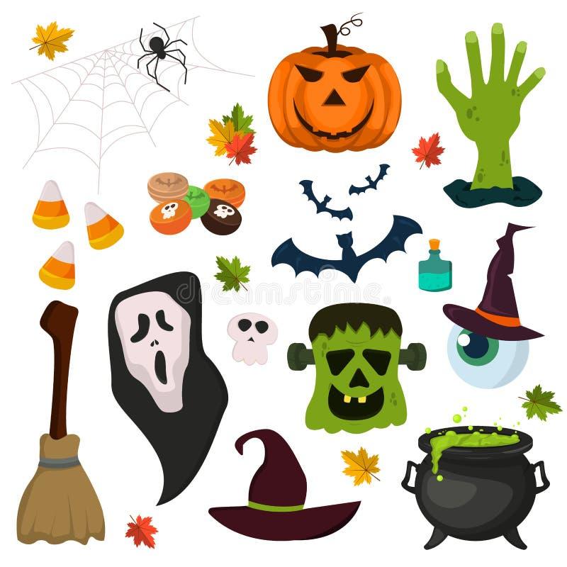 Ilustração do vetor da coleção do feriado do fantasma da abóbora dos símbolos de Dia das Bruxas ilustração royalty free