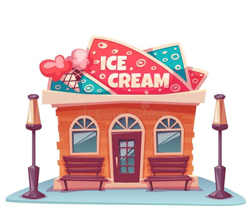 Ilustração do vetor da construção de loja do gelado ilustração royalty free