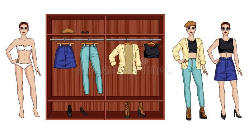 Ilustração do vetor da cor de um vestuário moderno fêmea para o outono Uma posição da mulher ao lado de um armário com roupa ilustração stock