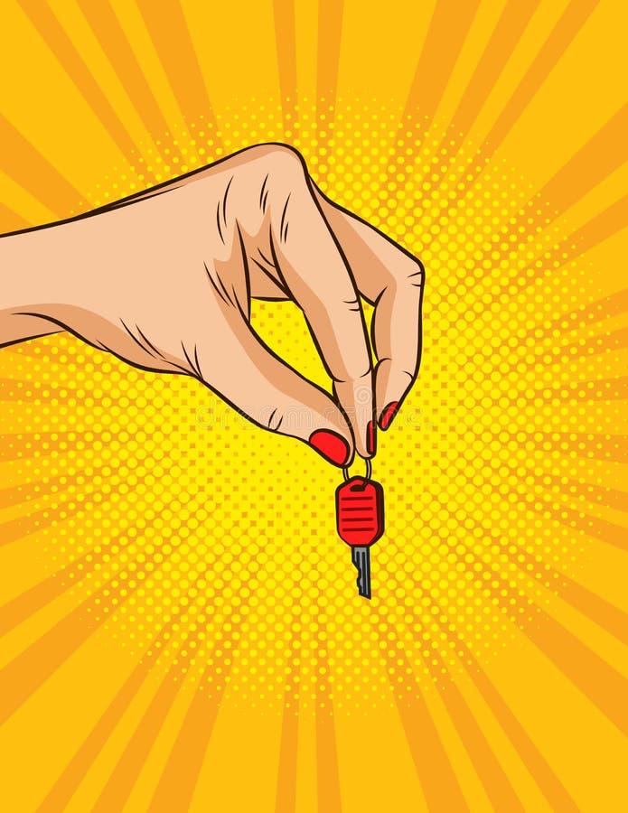 Ilustração do vetor da cor no estilo do pop art A mão fêmea guarda chaves ao veículo A mão do proprietário passa a chave Advertis ilustração stock