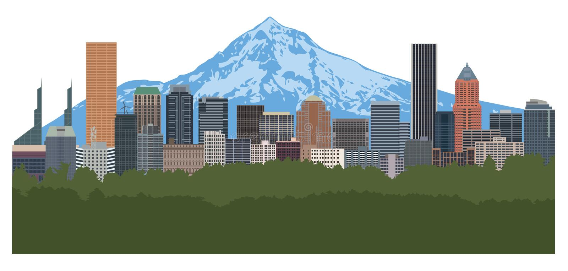 Ilustração do vetor da cor da skyline de Portland Oregon ilustração stock