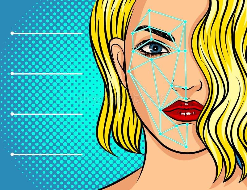 Ilustração do vetor da cor sobre o reconhecimento de cara Varredura do computador da cara fêmea Tecnologia para identificar indiv ilustração royalty free