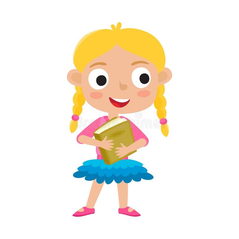 Ilustração do vetor da cor do suporte bonito da menina com Livro Verde ilustração do vetor