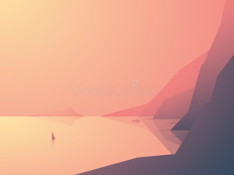 Ilustração do vetor da costa do oceano com opinião do mar e os penhascos altos da rocha Veleiro ou iate na água Natureza exterior ilustração do vetor