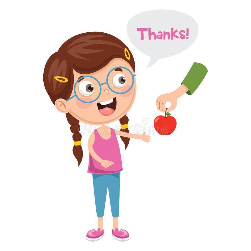 A ilustração do vetor da criança dá agradecimentos ilustração do vetor