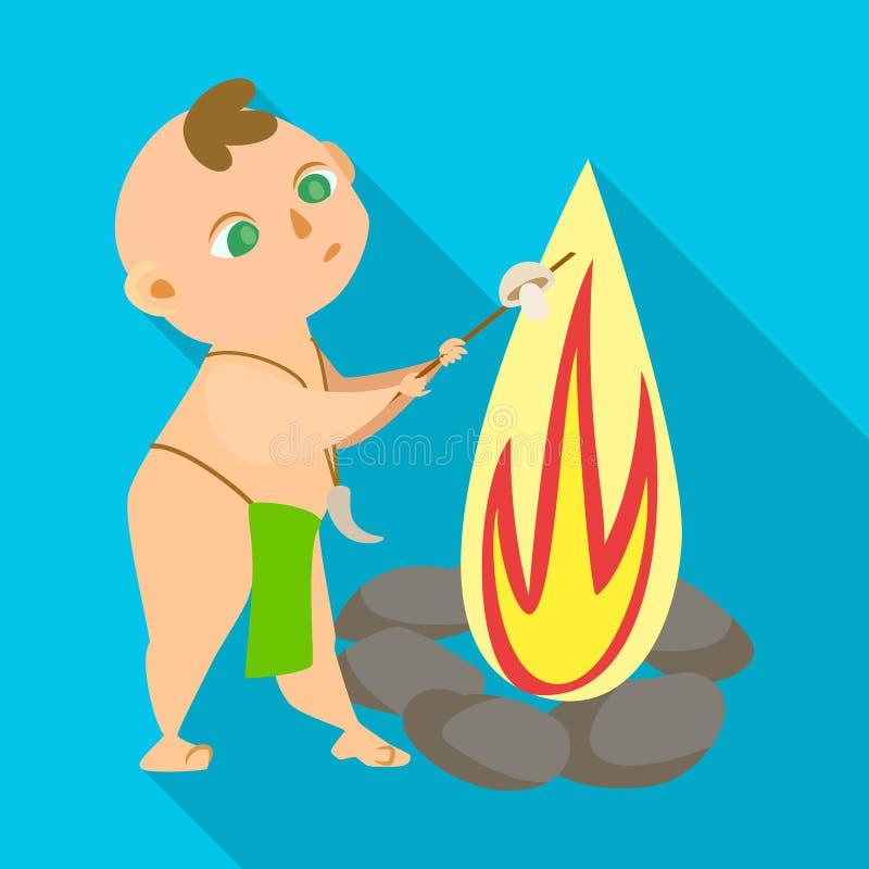 Ilustração do vetor da criança e do ícone pré-histórico Ajuste da ilustração conservada em estoque do vetor da criança e das pedr ilustração do vetor