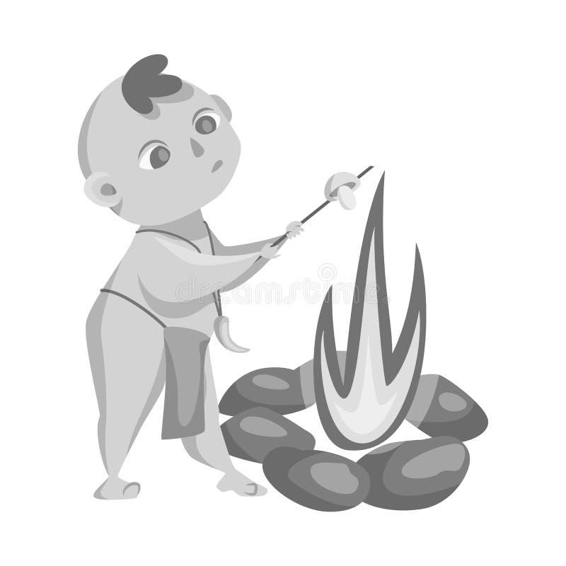 Ilustração do vetor da criança e do logotipo pré-histórico Ajuste do ícone do vetor da criança e das pedras para o estoque ilustração stock